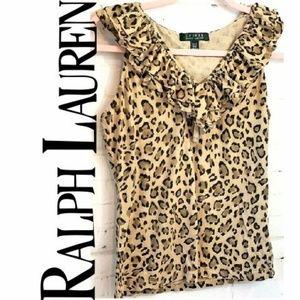 RALPH LAUREN ruffle brown cheetah print size Med
